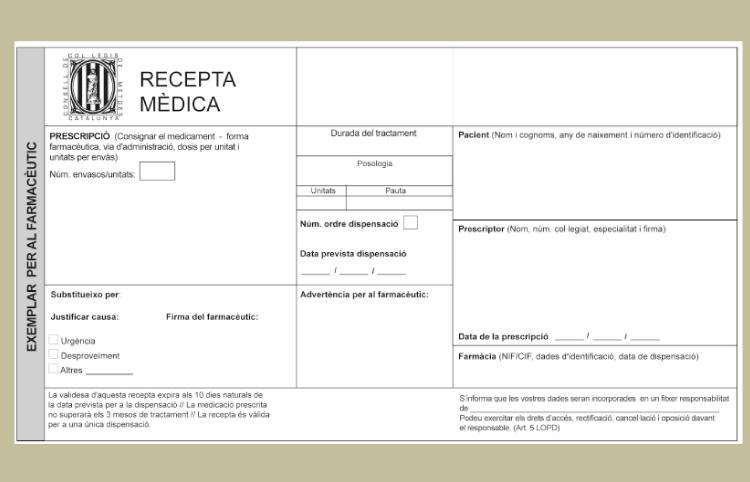 Model de recepta mèdica privada