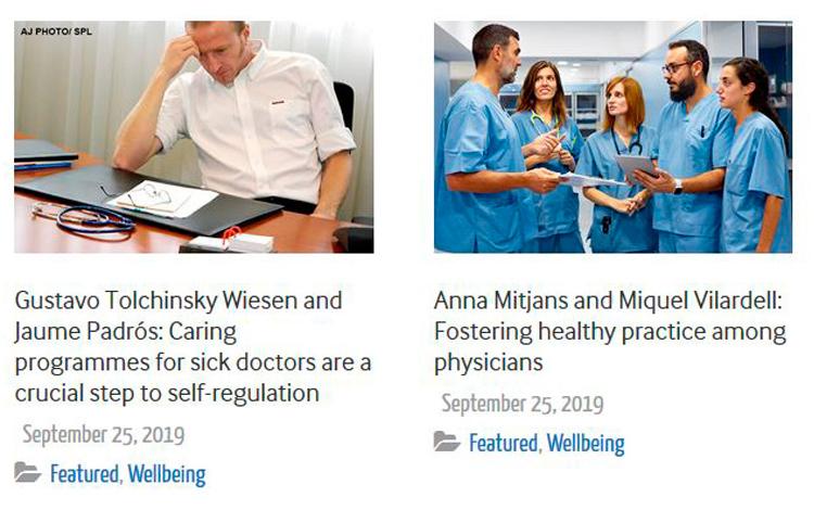 BMJ publica dos editorials sobre l'experiència del CoMB i la Fundació Galatea en l'atenció  a la salut dels metges