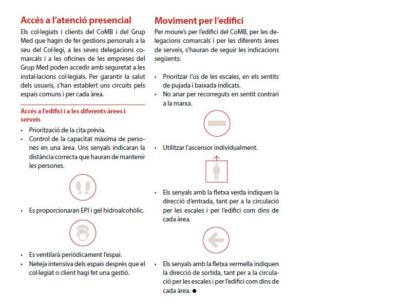 Mesures preventives per a la represa de l'activitat